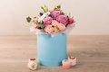 Lovely Bouquet In A Blue Box Stock Image - 85492571