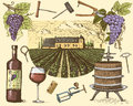 Wine Harvest Products, Press, Grapes, Vineyards Corkscrews Glasses Bottles In Vintage Style, Engraved Hand Drawn Stock Photos - 85507143