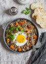 Roasted Sweet Potato, Quinoa And Fried Egg Bowl. Delicious Healthy Breakfast Or Lunch. Stock Photos - 85523413