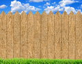 Fresh Green Grass Over Wood Fence Background And Blue Sky Stock Images - 85528574