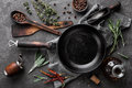 Dark Culinary Background With Empty Black Pan Stock Images - 85530344