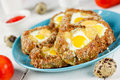 Meat Nest With Quail Eggs And Cheese Stock Photo - 85532760