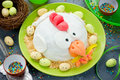 Easter Fondant Cake Shaped Chicken , Delicious Dessert On Easter Royalty Free Stock Photos - 85532968