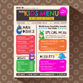 Cute Colorful Vibrant Kids Menu Template In Newspaper Style Stock Image - 85536821