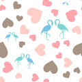 Seamless Pattern With Hearts And Flamingo. Royalty Free Stock Images - 85546689