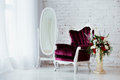 Vintage Style Chair In Classical Interior Room With Big Window And Flowers Stock Image - 85563261