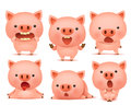 Collection Of Funny Pig Emoticon Characters In Different Emotions Stock Photography - 85565202