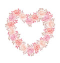 Tender Color Pink Rose Bouquet In Heart Shape. Royalty Free Stock Photos - 85570798