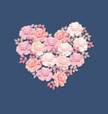 Tender Color Pink Rose Bouquet In Heart Shape. Royalty Free Stock Photography - 85570867