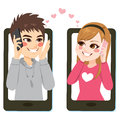 Smartphone Teenager Love Stock Images - 85572894