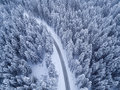 Top View Of Winter Forest And Road Royalty Free Stock Photo - 85579735