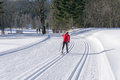 Groomed Ski Trails For Cross Country Skiing Stock Photo - 85581020