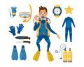 Spearfishing Diving Equipment Vector Set. Stock Photo - 85584170