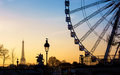 The Ferris Wheel And The Eiffel Tower In Paris Royalty Free Stock Photography - 85596877