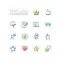 Social Network Signs - Thin Line Icons Set Royalty Free Stock Photography - 85598027