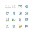 Office Supplies - Thin Single Line Icons Set Stock Photography - 85598182