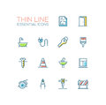 Home, Road Repair - Thin Line Icons Set Royalty Free Stock Photos - 85598338