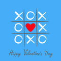 Tic Tac Toe Game With Criss Cross And Red Heart Sign Mark XOXO. Hand Drawn Brush. Doodle Line. Happy Valentines Day Card Flat Desi Royalty Free Stock Photos - 85600248