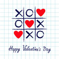Tic Tac Toe Game With Criss Cross And Three Red Heart Sign Mark XOXO. Hand Drawn Blue Pen Brush. Doodle Line. Happy Valentines Day Stock Images - 85600334