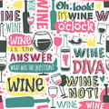 Bottles And Glasses Wine Seamless Pattern Text Vector Illustration. Stock Image - 85604181