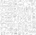 Food, Drinks And Household Cleaning Items Seamless Pattern In Linear Simple Style. Royalty Free Stock Image - 85605046