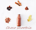 Natural Detox Chocolate Smoothie Ingredients Isolated On White Background Stock Photography - 85610142