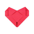 One Folding Red Paper Heart Isolated On White Royalty Free Stock Photography - 85624647