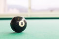 Closeup Black Snooker Billards Ball On Table With Green Surface Stock Image - 85628941