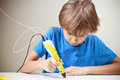 Child Using 3D Printing Pen. Boy Making New Item. Creative, Technology, Leisure, Education Concept Royalty Free Stock Photo - 85632155