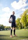 Soccer Player With Ball On Football Field Stock Photography - 85632322