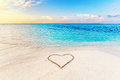Heart Drawn On Sand Of A Tropical Beach At Sunset. Stock Images - 85636454