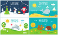 Seasons Of The Year Cards. Winter, Spring, Summer, Autumn Royalty Free Stock Images - 85644889