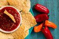 Tortilla Chips And Salsa In Bowl With Sweet Peppers Stock Images - 85650024