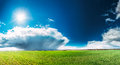 Field Or Meadow Landscape With Green Grass Under Scenic Spring Blue Sky With White Fluffy Clouds And Shining Sun Royalty Free Stock Photos - 85651758