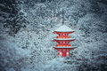 Red Pagoda At Kiyomizu-dera Temple With Tree Covered White Snow Background. Stock Image - 85657501