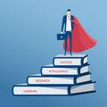 Businessman Dressed As A Superhero Stand On Top Of Books Stair. Stair Step To Success. Staircase To Success. Royalty Free Stock Photo - 85664195