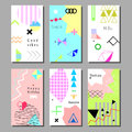 Set Of Artistic Colorful Universal Cards. Memphis Style. Stock Image - 85676881
