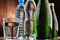 Composition With Glass And Bottles Of Mineral Water Stock Photo - 85694740