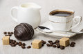 Chocolate Cake, Jug Milk, Pieces Of Sugar And Coffee Cup Stock Image - 85697251