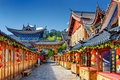 Street Decorated With Traditional Red Lanterns, Lijiang, China Royalty Free Stock Image - 85697496