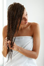 Hair Care. Beautiful Woman With Wet Hair In Towel After Bath Stock Photos - 85706173