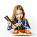 Cute Little Girl With Salad And Pepper Box Stock Photo - 85713190