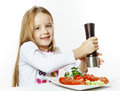 Cute Little Girl With Salad And Pepper Box Royalty Free Stock Images - 85713309