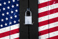 United States Of America Flag On A  Door With A Padlock, Protect Stock Image - 85723221