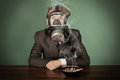 Teenage Boy Wearing A Gas Mask Stock Photos - 85734603