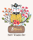 8 March. Happy Women`s Day. Colorful Greeting Background With Cute Cat In Flowers. Spring Holiday. Sketch Of Animal Stock Images - 85747964