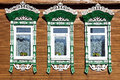 Facade Russian House With Carved Architraves Stock Image - 85768961