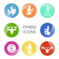 Label Fitness Club With The Image Of Women And Men Royalty Free Stock Photo - 85773445