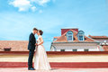 First Wedding Dance.wedding Couple Dances On The Roof. Wedding Day. Happy Young Bride And Groom On Their Wedding Day. Stock Images - 85790134
