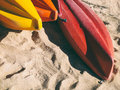 Colorful Of Kayaks Boat On The Beach Royalty Free Stock Photo - 85799665